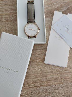 Tolle Uhr von Rosefield in grau/ roségold Leder Ziffernblatt mit Karton