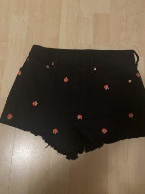 Pink Victoria's Secret Pantaloncino a vita alta nero-rosso