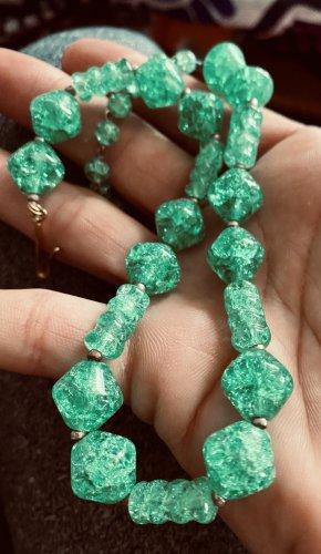 Tolle Vintage Halskette Kette grün nostalgischer Verschluss