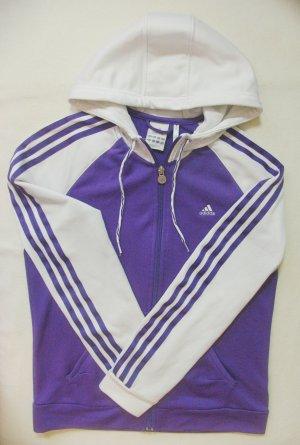 Tolle Vintage Sportjacke, Kapuzenjacke von ADIDAS in Lila/Violett mit Weiss, Größe DE 38/40