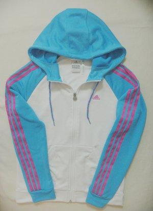 Tolle Vintage Sportjacke, Kapuzenjacke von ADIDAS in Weiss mit Türkis & Pink/Rosa, Größe DE 40