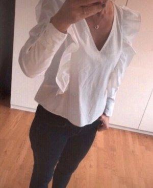 Zara Blusa con volantes blanco