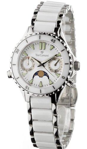 Tolle Yves Camani Keramik Damen Armbanduhr weiß silberne  Uhr