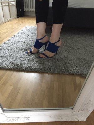 Tolle Zara High Heel Riemen Sandalette in blau, Gr. 37, neu