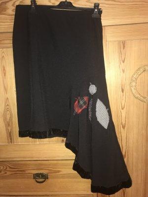Ohne Asymetryczna spódniczka czarny Wełna