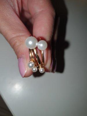 Asos Pendientes de perlas blanco-color oro