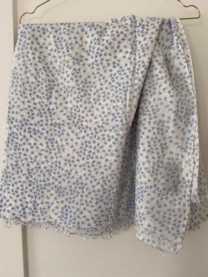Mynuka Écharpe d'été blanc cassé-bleu azur coton