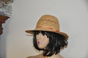 Sombrero de ala ancha marrón arena madera