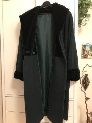 Toller, edler Damen Wollmantel mit Samtkapuze zweireihiger Mid Länge Mantel