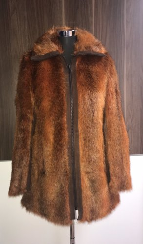 Toller Fake Fur Mantel mit Echt Rauhleder