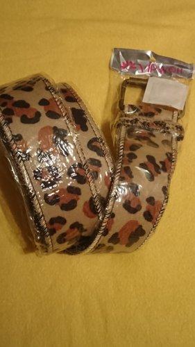 Cinturón de cuero de imitación marrón-beige