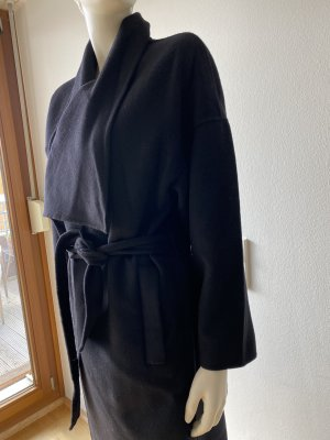 Massimo Dutti Wool Coat black wool