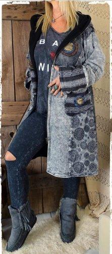 Hooded Coat grey-dark grey cotton