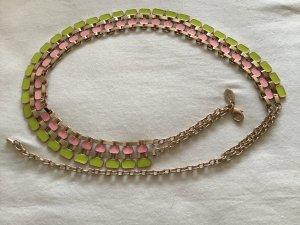 Ceinture en chaîne vert prairie-rose clair