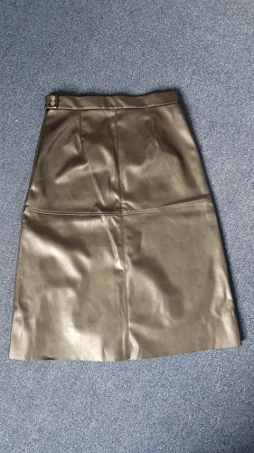 H&M Faux Leather Skirt black-silver-colored