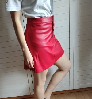 Mango Faux Leather Skirt dark red