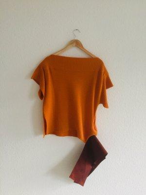 Toller Kurzarmpullover mit Kummerbund in orange von Ferre, Gr. It 44