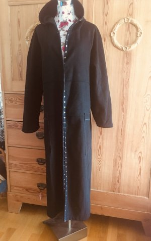 Made in Italy Manteau à capuche noir laine
