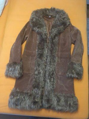 Manteau en cuir marron clair daim