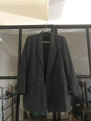 Zara Woman Blazer Boyfriend gris antracita-blanco