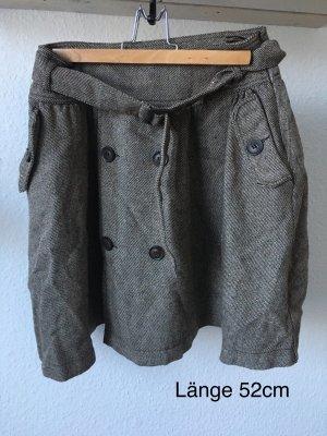 Mango Suit Plaid Skirt bronze-colored-grey brown