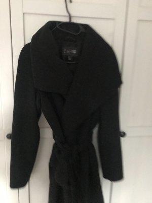 Mango Wełniany płaszcz czarny-antracyt