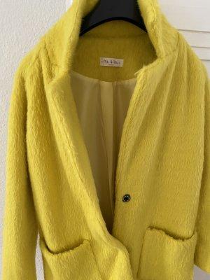 0039 Italy Krótki płaszcz żółty neonowy Tkanina z mieszanych włókien