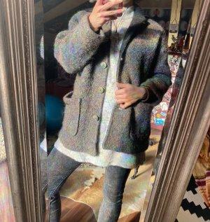 Toller Oversized Vintage Wollmantel Jacke grau Gr 42