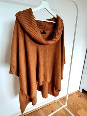H&M Ponczo z dzianiny brązowy
