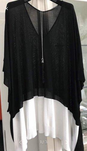 Poncho noir-blanc