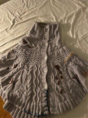 Desigual Poncho en tricot gris