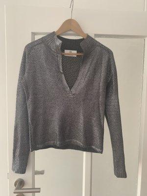 Allude V-Neck Sweater silver-colored-grey
