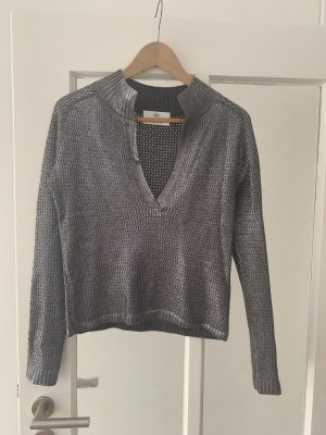 Allude V-Neck Sweater silver-colored-grey