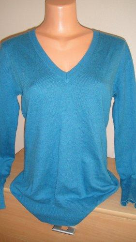 ATMOSPHÄRE Sweter z dekoltem w kształcie litery V turkusowy Bawełna