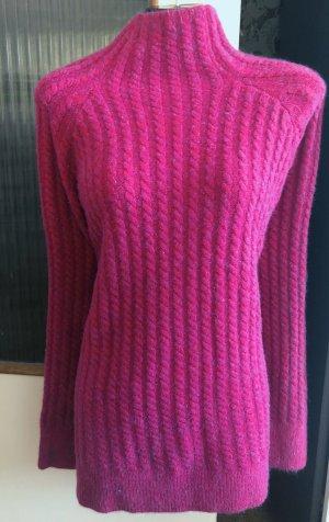 100% Fashion Sweter z dzianiny purpurowy