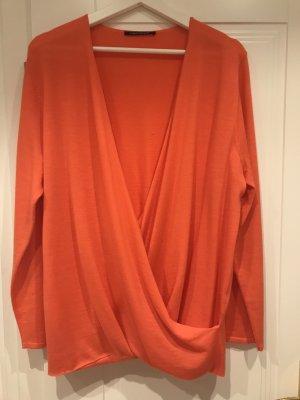 Luisa Cerano Cardigan en maille fine orange fluo laine vierge