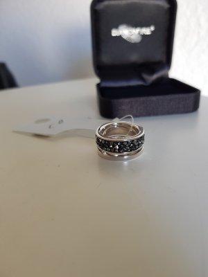 Burkhardt Anello d'argento nero-argento