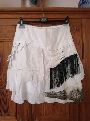 Elisa Cavaletti Midi Skirt white-black linen
