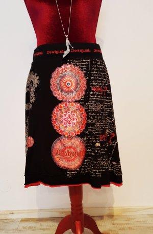 Desigual Spódnica z koła czarny-jasnoczerwony