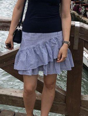 Esprit Spódnica z falbanami biały-niebieski