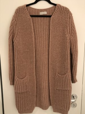 your & self Knitted Coat silver-colored-dusky pink