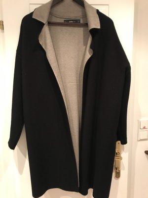 Zara Knit Abrigo de punto negro-beige