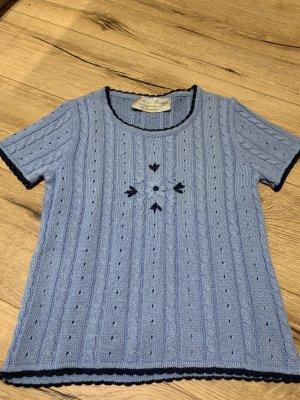 H.Moser Tradycyjny sweter stalowy niebieski