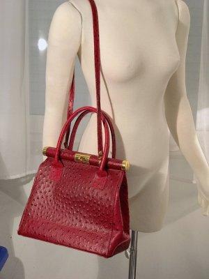 Toller Vintage Leder Kelly Bag rot Handtasche Blogger Strauss Retro Style wie Hermes