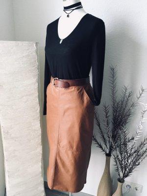Falda de cuero coñac-color plata