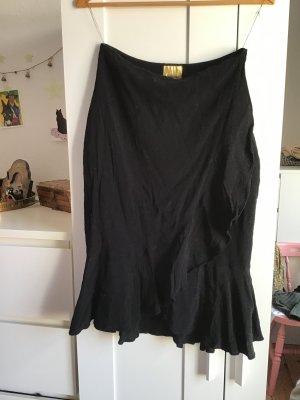 H&M Spódnica z falbanami czarny Wiskoza