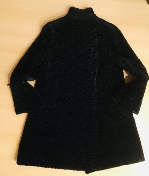 Manteau en fausse fourrure noir tissu mixte