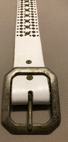 Leather Belt white-gold-colored leather