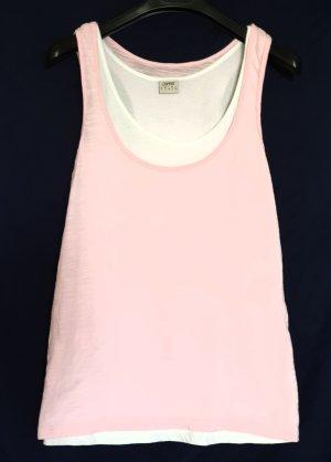 Esprit Top o kroju litery A biały-jasny różowy