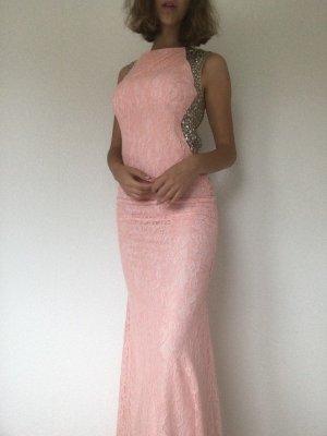 Tolles Abendkleid Glitzer, Pailetten, Ballkleid Rosa Rückenfrei Rose M 38 Neu mit Etikett